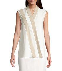 boss women's itasia sleeveless crepe top - soft cream - size 6