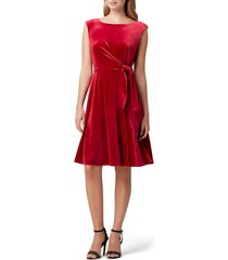 women's tahari stretch velvet fit & flare dress