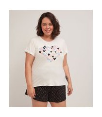 pijama curto em viscolycra estampa corações curve & plus size | ashua curve e plus size | branco | g