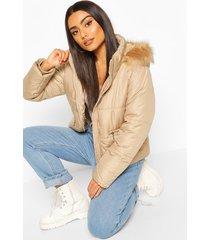 faux fur trim puffer jacket, stone