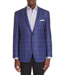 men's canali siena classic fit plaid wool blend sport coat, size 42 us / 52 eu s - blue