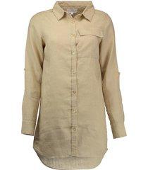 blouse lang linnen beige