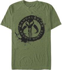 men's star wars the mandalorian bounty hunter ink logo short sleeve t-shirt