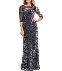 women's la femme burnout velvet column gown, size 8 - metallic