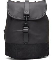 drawstring backpack ryggsäck väska svart rains