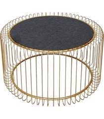 mesa lateral de metal dourado g - incolor - dafiti