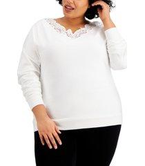 kiss & tell trendy plus size lace-trim v-neck top