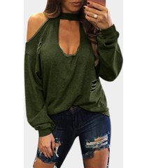 army green sexy cold shoulder ripped long sleeves t-shirt