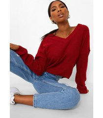 ingekorte trui met v-hals, rood
