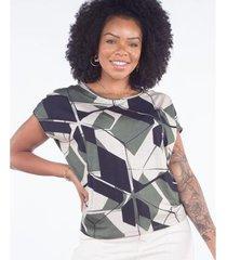blusa ampla estampa geométrica feminina - feminino