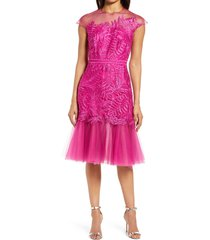women's tadashi shoji lace & tulle fit & flare cocktail dress, size 10 - pink
