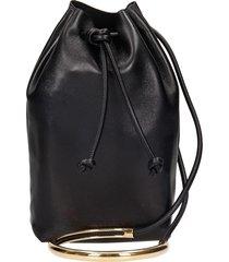 jil sander drawstring hand bag in black leather