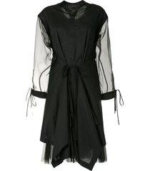 shanshan ruan draped shirt dress - black