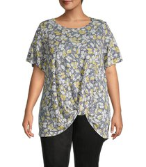 bobeau women's plus knotted print top - red floral - size 3x (22-24)