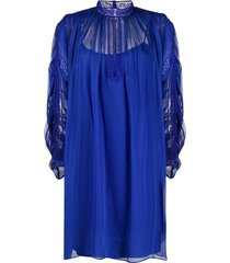 alberta ferretti oversized lace panel dress - blue