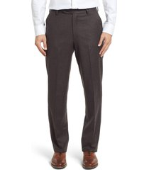 men's berle flat front classic fit solid wool dress pants, size 31 x unhemmed - brown