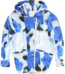 kenzo blurred poppy print windbreaker jacket