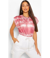 tall tie dye shoulder pad jersey t-shirt, blush