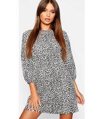 balloon sleeve leopard print shift dress, white