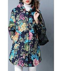 cappotto con cappuccio a manica lunga stampata da donna vintage