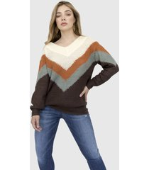 sweater color block dian chocolate racaventura