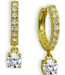 cubic zirconia dangle drop huggie hoop earring in 18k gold plated sterling silver