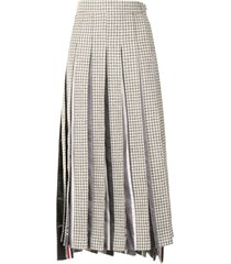 thom browne ankle length dropped back pleated skirt w/combo - grey