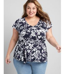 lane bryant women's flutter-sleeve belted top 10/12 blue and white floral