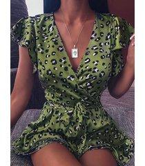 envolvente con estampado verde escalonado diseño mangas cortas con cuello en v profundo vestido