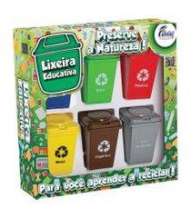 jogo lixeira educativa fenix brinquedos lp-01 reciclagem