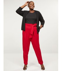 lane bryant women's belted pull-on ankle pant-crepe 28 venetian red