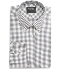 men's nordstrom classic fit non-iron gingham dress shirt, size 17 - 34/35 - grey