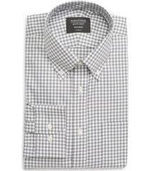 men's big & tall nordstrom men's shop classic fit non-iron gingham dress shirt, size 17 - 38/39 - grey