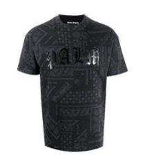 palm angels camiseta com estampa de logo e paisley - preto