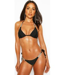 diamante trim triangle bikini, black
