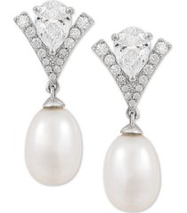 arabella cultured freshwater pearl (8mm) & swarovski zirconia drop earrings in sterling silver, created for macy's