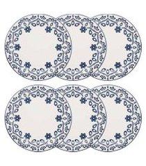 conjunto 6 pratos rasos 26cm floreal energy branco e azul oxford