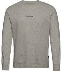 down longsleeve - light grey melange t-shirts long-sleeved grijs forét