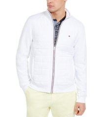 tommy hilfiger men's david regular-fit mix-media full-zip sweatshirt