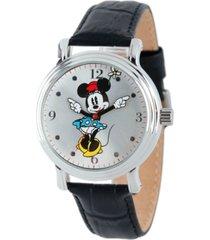 disney minnie mouse men's shiny silver vintage alloy watch
