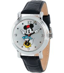 disney minnie mouse men's shiny silver vintage alloy watch