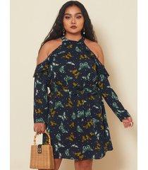 mini vestido de manga larga con diseño de cinturón de hombro frío de talla grande yoins
