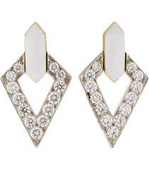 double diamond and white enamel earrings