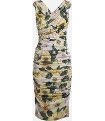 dolce & gabbana midi flower print satin dress
