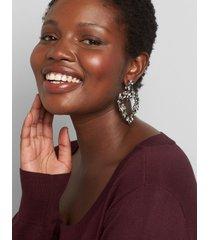 lane bryant women's faceted stone heart drop earrings onesz hematite