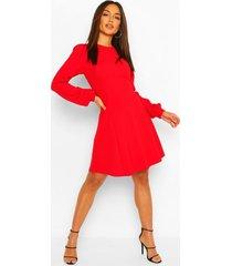 skater jurk met blouson mouwen, red