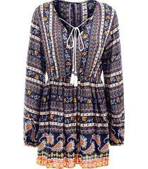 elastic waist long sleeve bohemia print dress