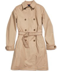tommy hilfiger adaptive women's trench coat with magnetic closure