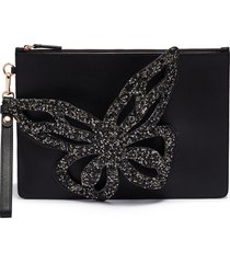 'flossy' butterfly appliqué leather pouch