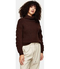 brown roll neck cable sleeve knitted sweater - chocolate